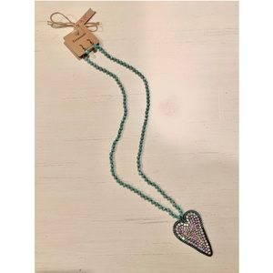 Long Heart Bling Necklace